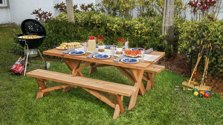 ξύλινο diy τραπέζι κήπου