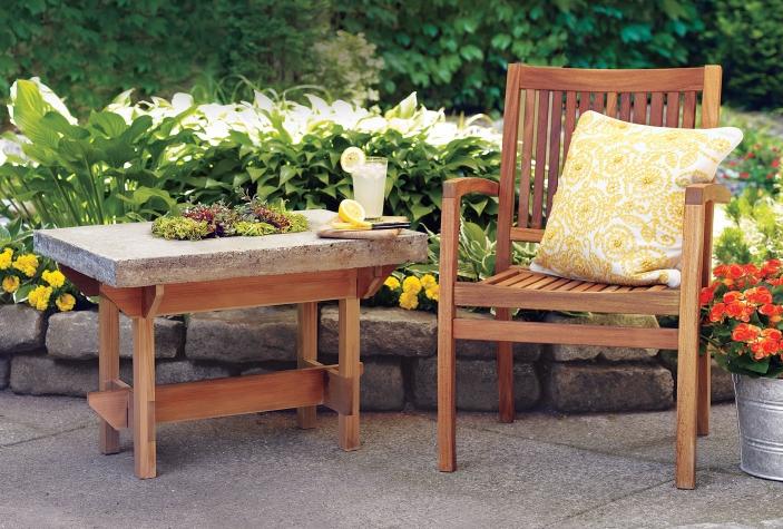 τραπέζι από ξύλο και τσιμέντο