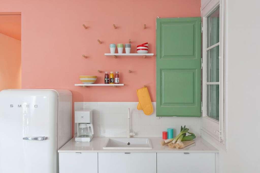 κουζίνα πράσινο ροζ