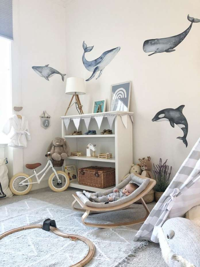 παιδικό δωμάτιο φάλαινες δελφίνια