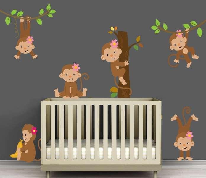 παιδικό δωμάτιο μαϊμούδες